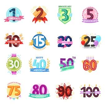 Badges anniversaire anniversaire dessin animé numéros emblèmes vacances anniversaire fête célébration naissance âge lettre avec rubans illustration isolé sur fond blanc