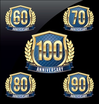 Badges d'anniversaire. ensemble de quatre badges d'anniversaire de luxe.