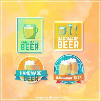 Badges d'aquarelle pour la bière artisanale