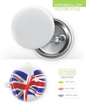 Badges blancs vierges, application simple de style hyperréalisme
