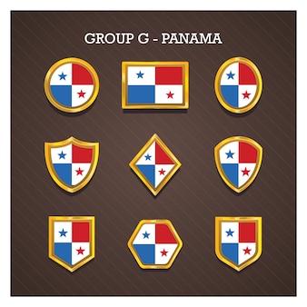 Badges de cadre doré avec des drapeaux de la coupe du monde - panama