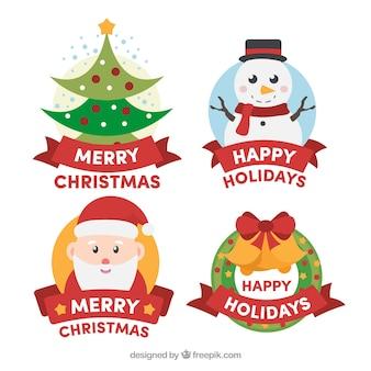 Badges colorés de joyeux noël et de joyeuses fêtes