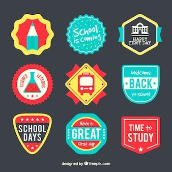 Badges colorés pour l'école