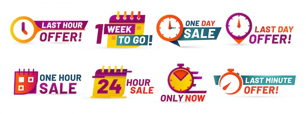 Badges de compte à rebours de vente. bannière d'offre de dernière minute, vente d'un jour et autocollants promotionnels de vente de 24 heures