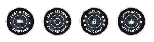 Badges de confiance satisfactions de conception conception garantie livraison gratuite