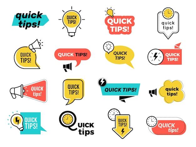 Badges de conseils rapides. des rappels d'idées d'autocollants graphiques réfléchissent rapidement à des solutions d'apprentissage de la collection de logos. badge de conseils rapides, conseils et idée