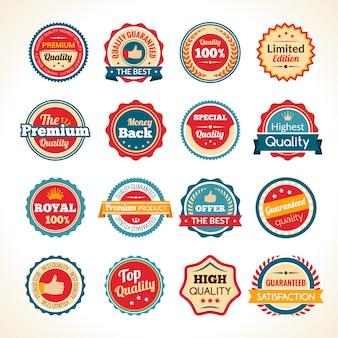 Badges couleur de qualité premium vintage