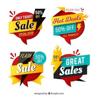 Badges de vente avec un design plat