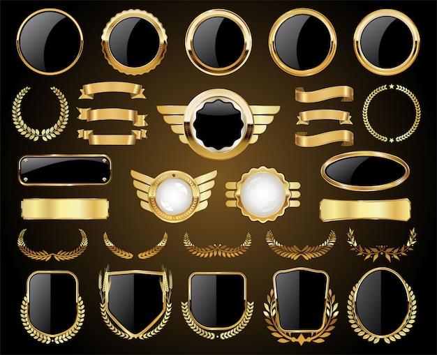 Badges dorés étiquettes collection de boucliers et couronnes de laurier