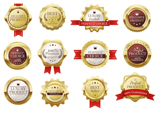 Les badges dorés de qualité supérieure sont scellés avec des rubans rouges. étiquette de certificat de meilleur vendeur réaliste, ensemble de vecteurs de timbre de produit de luxe en or vintage. emblème brillant pour une garantie de qualité parfaite