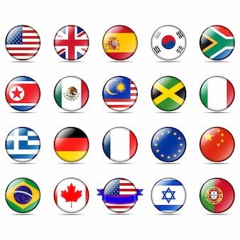 Badges avec drapeaux