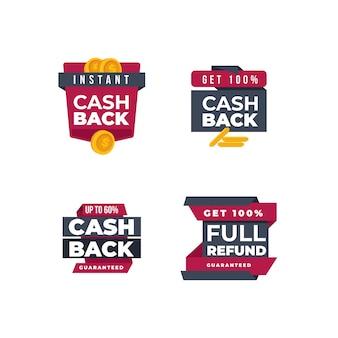 Badges et étiquettes d'argent cashback