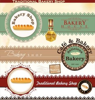 Badges et étiquettes de boulangerie rétro