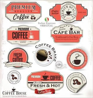 Badges et étiquettes de café rétro