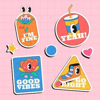 Badges et étiquettes de dessins animés à la mode dessinés à la main