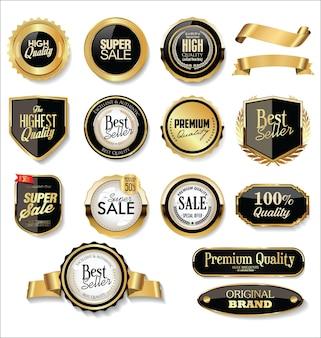 Badges et étiquettes dorés
