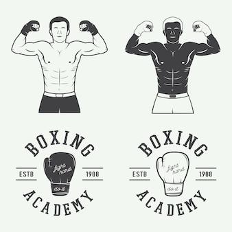 Badges et étiquettes de logo de boxe et d'arts martiaux dans un style vintage