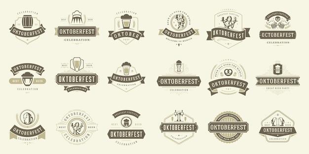 Les badges et les étiquettes de l'oktoberfest définissent des modèles de conception typographique vintage illustration vectorielle.