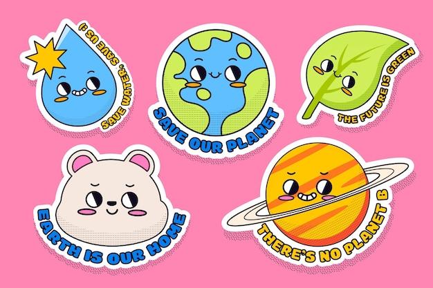 Badges et étiquettes plats dessinés à la main sur le changement climatique