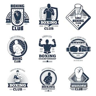 Badges et étiquettes de vecteur pour le club de sport de boxe vintage