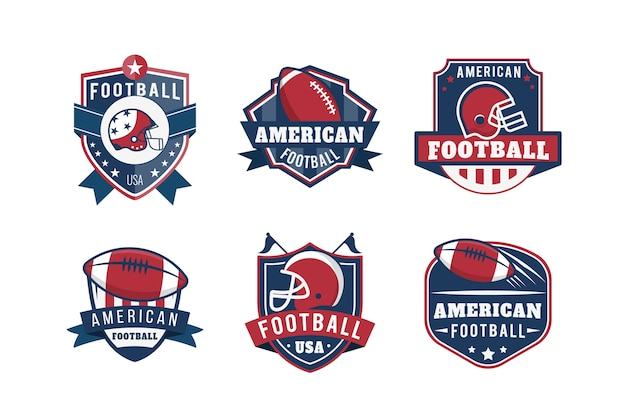 Badges de football américain design rétro