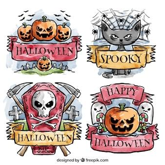Badges de halloween spooky peintes à l'aquarelle