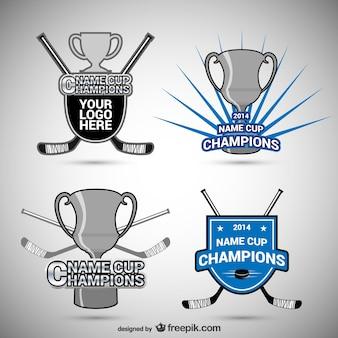 Badges de hockey et tasses