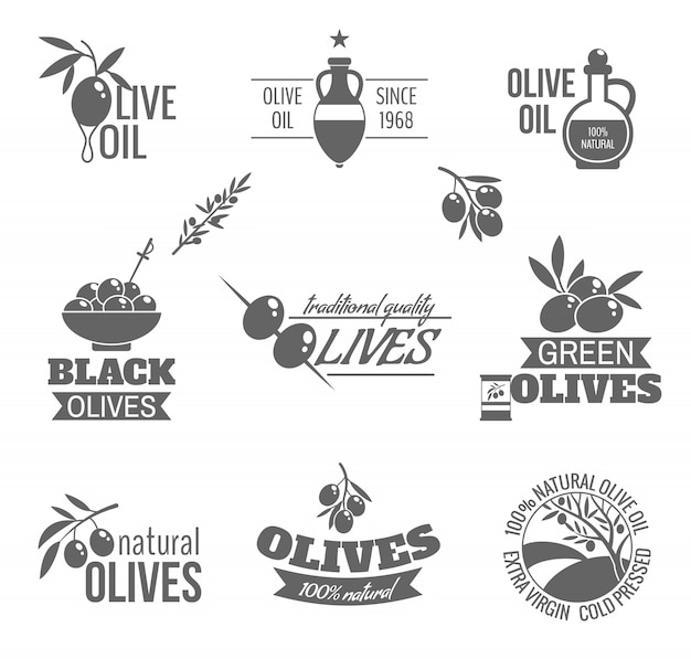 Badges d'huile d'olive dans un style vintage