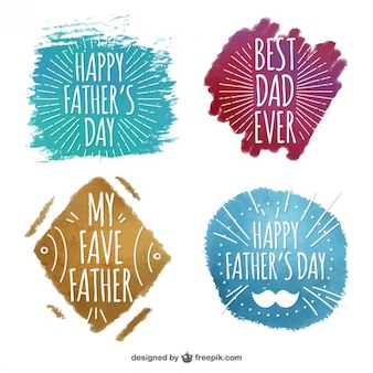 Les badges jour aquarelle main père dessiné