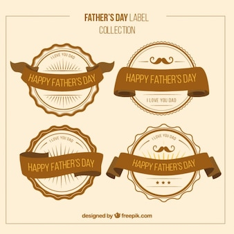 Les badges de jour vintage père avec des rubans
