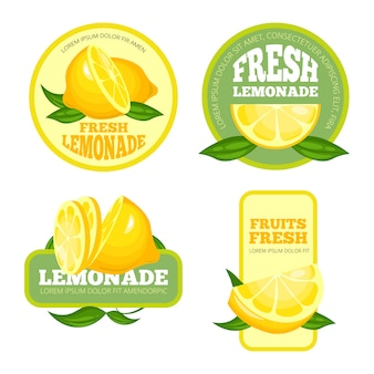 Badges de limonade. jus de citron ou de limonade au sirop de fruits