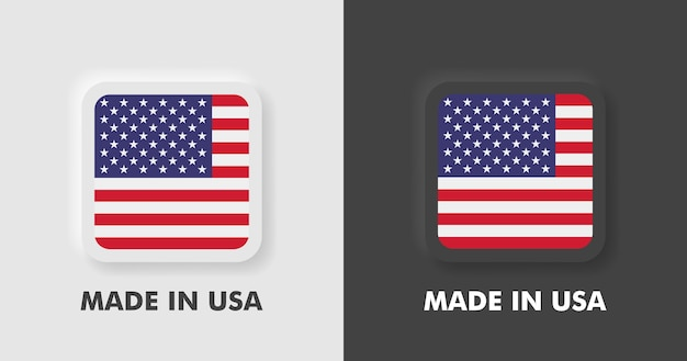 Badges made in usa avec drapeau américain