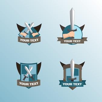 Badges de méditation avec épées et boucliers