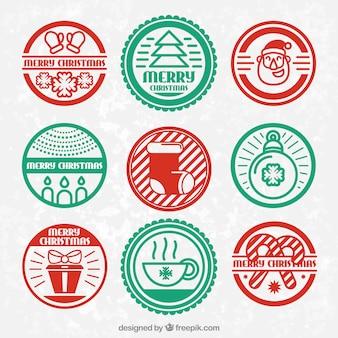 Badges de noël rouges et verts