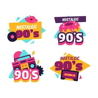 Badges nostalgiques des années 90 au design plat
