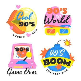Badges nostalgiques des années 90 dessinés à la main