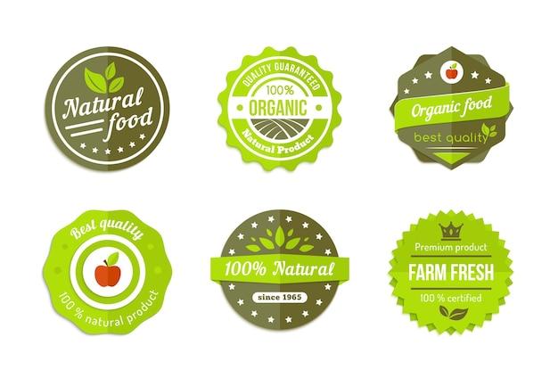 Badges organiques naturels de vecteur