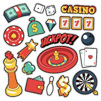 Badges, patchs, autocollants de casino de jeu - cartes d'argent de roulette de jackpot dans le style comique. griffonnage