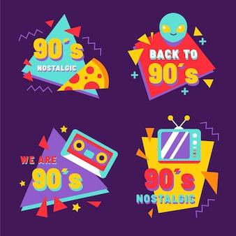 Badges plats nostalgiques des années 90
