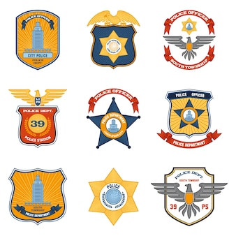 Badges de police colorés