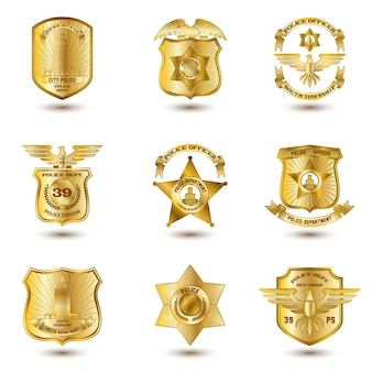 Badges de police or