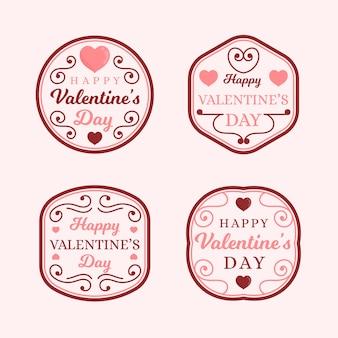 Badges pour la collection de la saint-valentin avec des lignes fantaisie