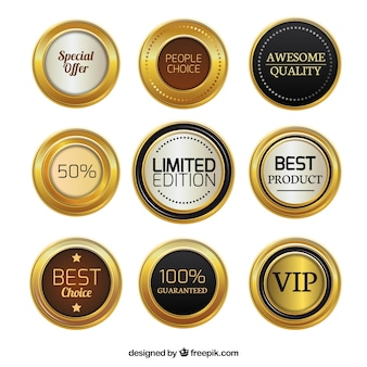 Badges de promotion d'or