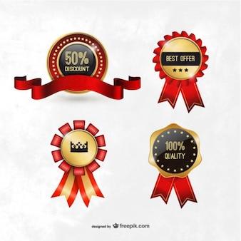 Badges de qualité et à prix réduits
