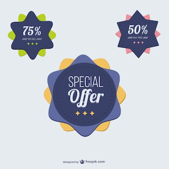 Badges de réduction de l'offre spéciale