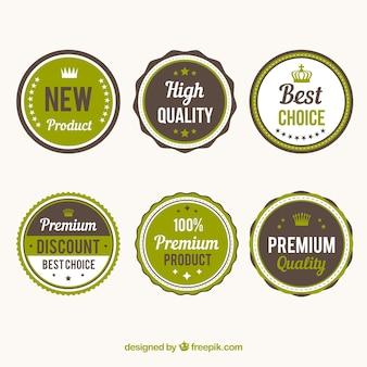 Badges rétro et des étiquettes
