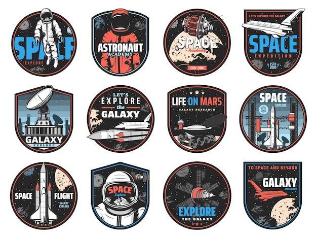 Badges rétro spatiaux avec des astronautes