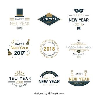 Badges simples pour les conceptions du nouvel an
