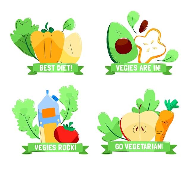 Badges végétariens dessinés à la main