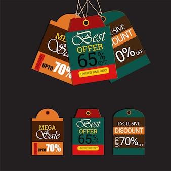 Badges de vente coloré et jeu d'étiquettes.